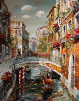 Cityscape - Venice Footbridge Over The Canal - Oil On Canvas