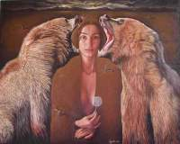 Agim Meta - The Visible Bears And The Invisible Woman - Oil On Canvas 81X65 Cm 2006
