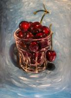 Still Life - Cherries Original Oil Painting - Oil Canvas