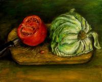 Still Life - Still Life With Tomato - Oil Canvas