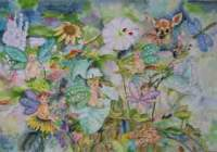 Pixie Babies Garden - Water Color Paintings - By Margaret Older, Realism Painting Artist