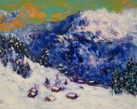 Snowy Alps - Acrylic Paintings - By Ivan Chmelo, Impressionism Painting Artist