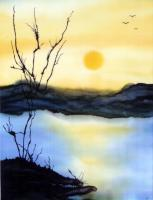 Landscape - Sunset At Lake Hodges - Silk Painting