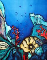 Oxygene II - Silk Painting Other - By Ursula Schroter, Dyes On Silk Other Artist