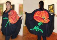 Clothing - Ruana Poppy - Silk Painting