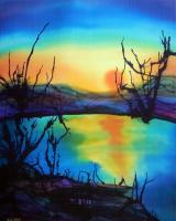 Sunset Reflection - Silk Painting Paintings - By Ursula Schroter, Dyes On Silk Painting Artist