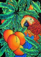 Animals - Tropical Parrot - Silk Painting