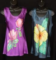 Clothing - Magnolia_ Hibiscus Tank Top - Silk Painting