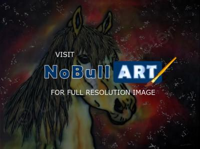 Animals - Golden Mustang - Silk Painting
