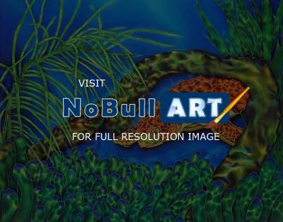 Animals - Curious Sea Turtle - Silk Painting