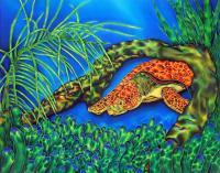 Curious Sea Turtle - Silk Painting Mixed Media - By Ursula Schroter, Dyes On Silk Mixed Media Artist