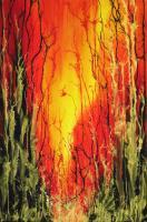 On Fire - Silk Painting Mixed Media - By Ursula Schroter, Silk Paint On Silk Mixed Media Artist
