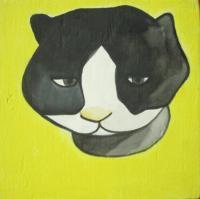 Cat 01 - Watercolor On Plywood Paintings - By Louise Hung, Caricature Painting Artist