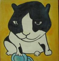 Cat - Cat 03 - Watercolor On Plywood