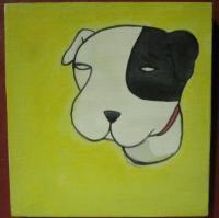 Dog 06 - Watercolor On Plywood Paintings - By Louise Hung, Caricature Painting Artist