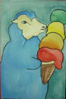 Ice Cream - Ice Cream 02-Sheep - Watercolor On Plywood