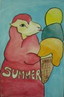 Ice Cream 03-Sheep - Watercolor On Plywood Paintings - By Louise Hung, Caricature Painting Artist
