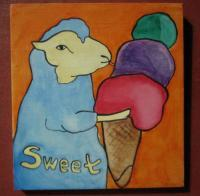 Ice Cream 05-Sheep - Watercolor On Plywood Paintings - By Louise Hung, Caricature Painting Artist