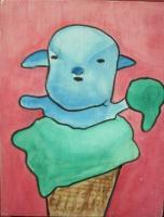 Ice Cream - Ice Cream 08-Baby Sheep - Watercolor On Plywood