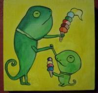 Ice Cream 12-Lizard - Watercolor On Plywood Paintings - By Louise Hung, Caricature Painting Artist