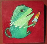 Ice Cream 19-Anole - Watercolor On Plywood Paintings - By Louise Hung, Caricature Painting Artist