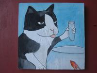 Big Size Painting - Scientist Cat - Watercolor On Plywood