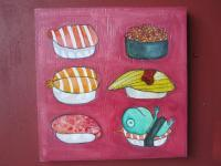 Big Size Painting - Sushi Menu - Watercolor On Plywood