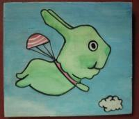 Rabbit - Flying Rabbit 01 - Watercolor On Plywood
