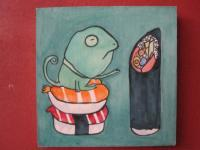 Sushi 01 - Watercolor On Plywood Paintings - By Louise Hung, Caricature Painting Artist