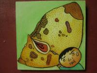 Mushroom Man - Mushroom Man 05 - Watercolor On Plywood