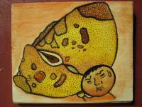 Mushroom Man - Mushroom Man 06 - Watercolor On Plywood