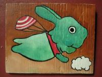 Rabbit - Flying Rabbit 03 - Watercolor On Plywood