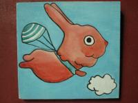 Rabbit - Flying Rabbit 04 - Watercolor On Plywood