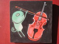 Music 05 - Watercolor On Plywood Paintings - By Louise Hung, Caricature Painting Artist