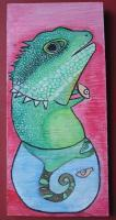 Big Size Painting - Fish Rocker 01 - Watercolor On Plywood