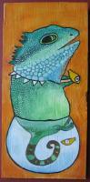 Big Size Painting - Fish Rocker 02 - Watercolor On Plywood