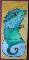 Big Size Painting - Fish Rocker 03 - Watercolor On Plywood