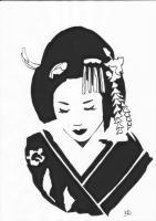 Geisha - Ink Drawings - By Pseudonym ~, Line Drawing Drawing Artist