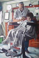 First Haircut - Oil On Canvas Paintings - By Anton Nichols, Realism Painting Artist