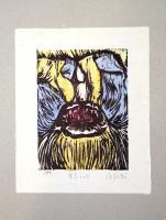 Printmaking - A Kiss - Watercolor  -  Woodblock