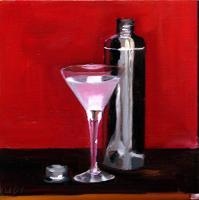 Martini And A Shaker - Oil On Canvas Paintings - By Udi Peled, Impressionism Painting Artist