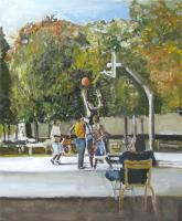 Basket Ball In The Park - Oil On Canvas Paintings - By Udi Peled, Impressionism Painting Artist