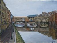 Landscape - Ponte Vecchio Florence Italy - Oil On Canvas