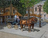 Cityscape - Carriage Ride In Amsterdam - Oil On Linen