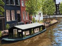 Amsterdam Houseboat - Oil On Linen Paintings - By Gary Sisco, Impressionist Painting Artist