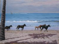 Horses On The Beach - Oil On Linen Paintings - By Gary Sisco, Representational Painting Artist