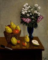 Apples Pears And Flowers - Oil On Linen Paintings - By Gary Sisco, Old Master Painting Artist