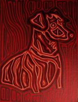 Dog Art - Brown Dog With Red Hues - Oil