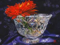 Zinnia And Waterford Crystal - Watercolor Paintings - By Soon  Y Warren, Realism Painting Artist