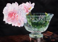 Pink Peony - Watercolor Paintings - By Soon  Y Warren, Realism Painting Artist